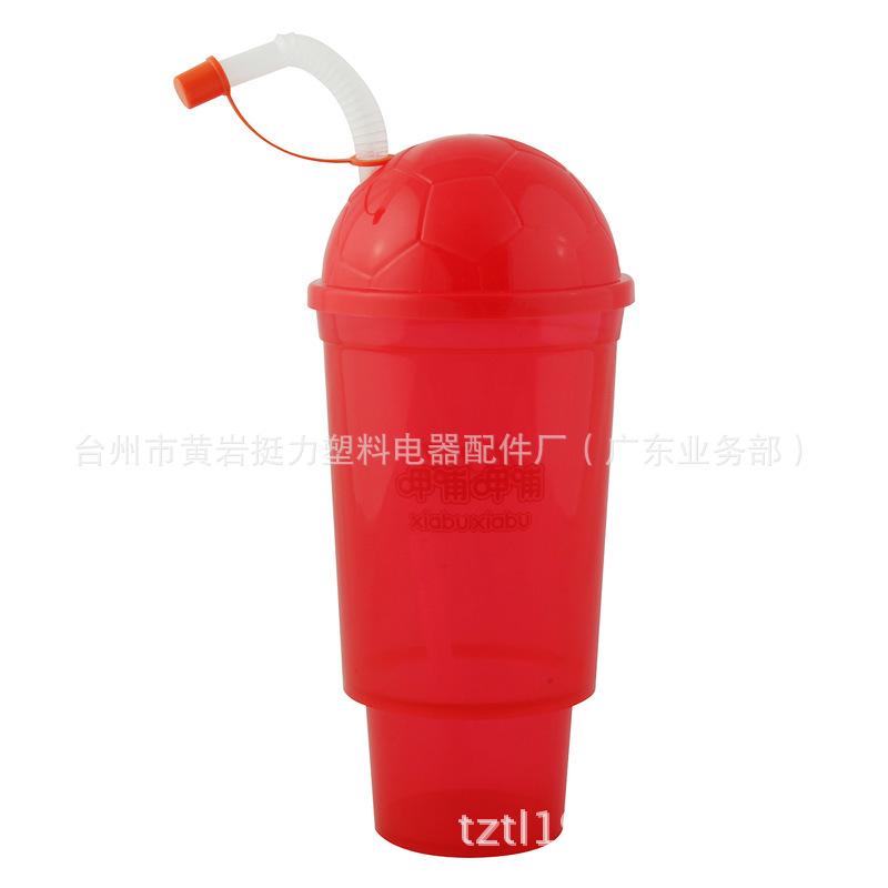 工厂直销单层塑料吸管杯 3D吸管杯  足球盖吸管杯 塑料饮料杯