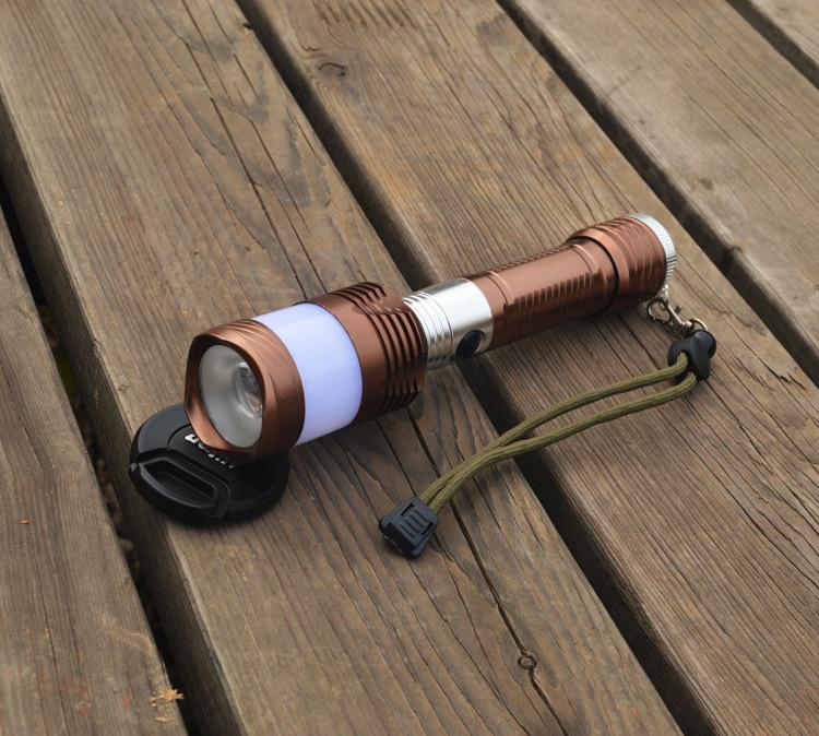 手电筒批发 新款铝合金强光手电筒 应急太阳能手电筒套装礼盒
