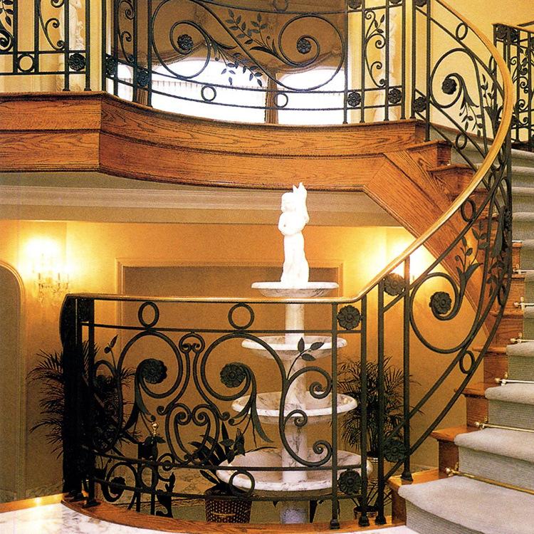 别墅欧式铁艺楼梯扶手护栏铁艺旋转楼梯住宅庭院护栏定制出口