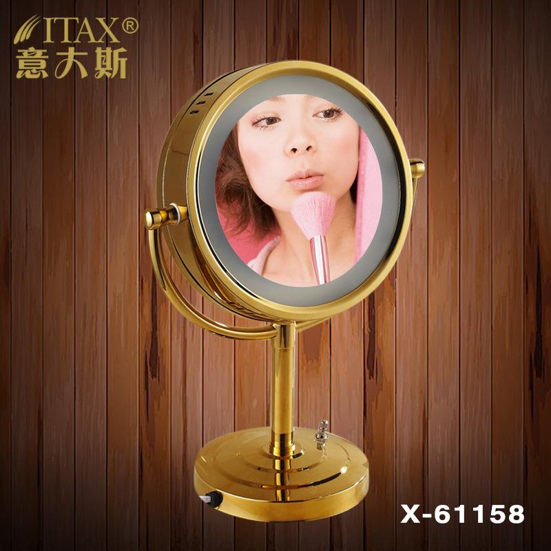 浴室镜子带led灯卫浴镜 伸缩双面折叠台式美容化妆镜厂家批发直销
