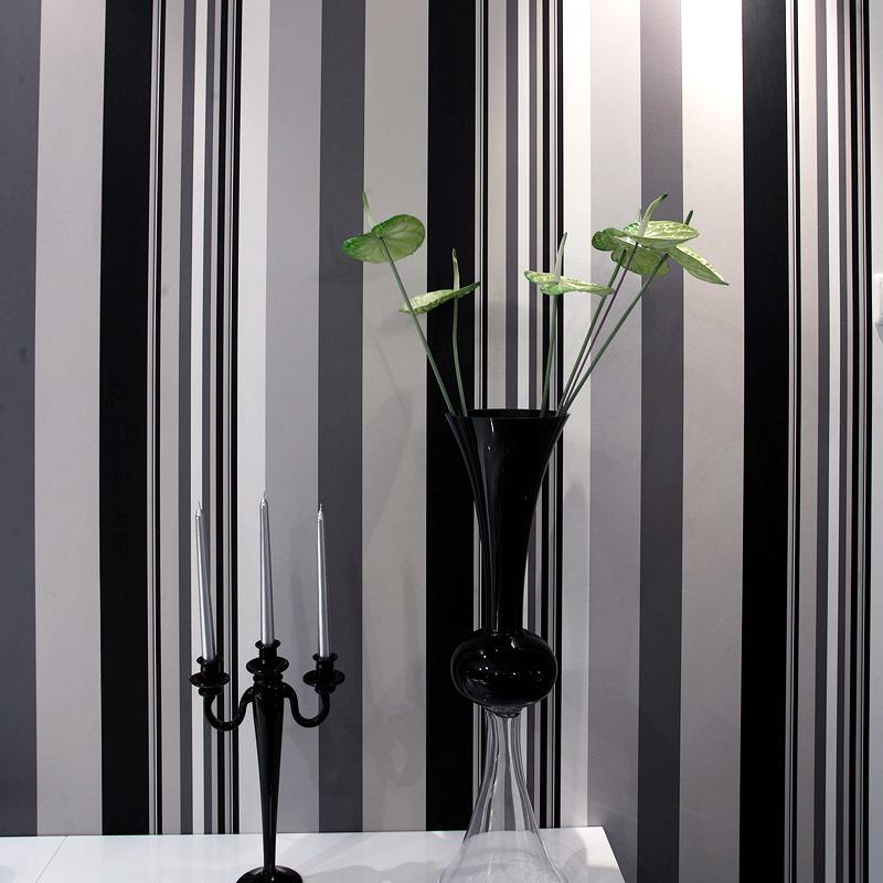 无纺布墙纸 黑白色条纹壁纸 无纺纸植绒 客厅卧室