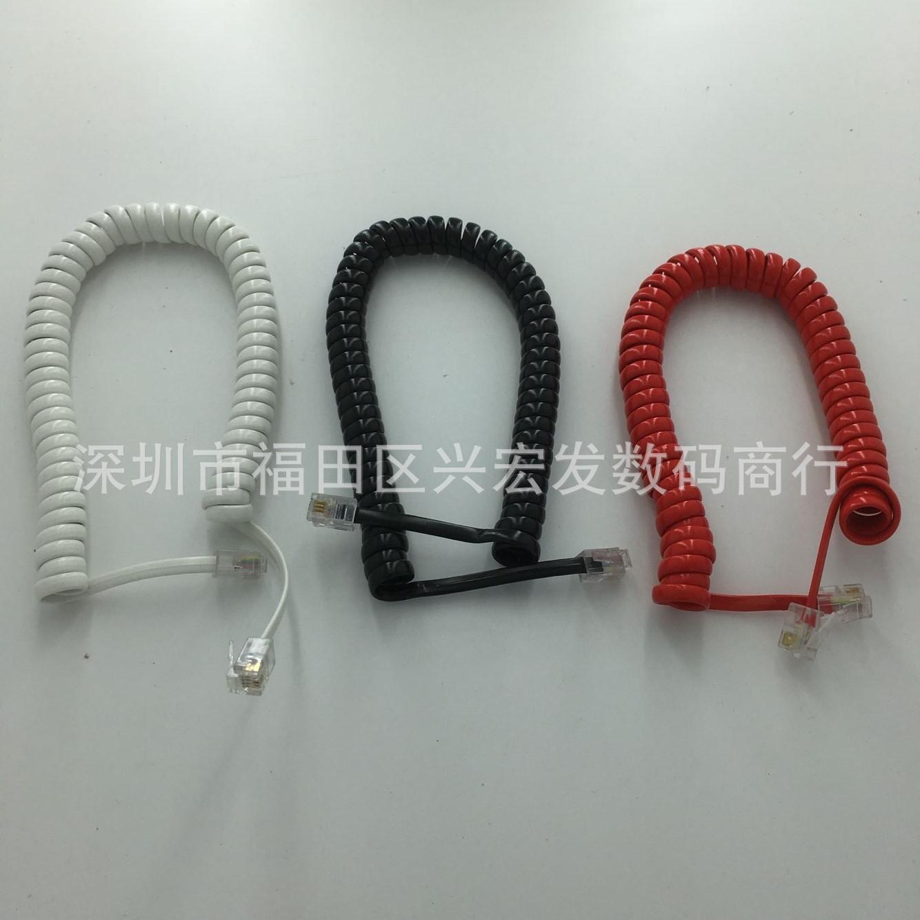 热卖4芯电话曲线/话机听筒线 4P4C电话曲线 电话话柄线 手柄线