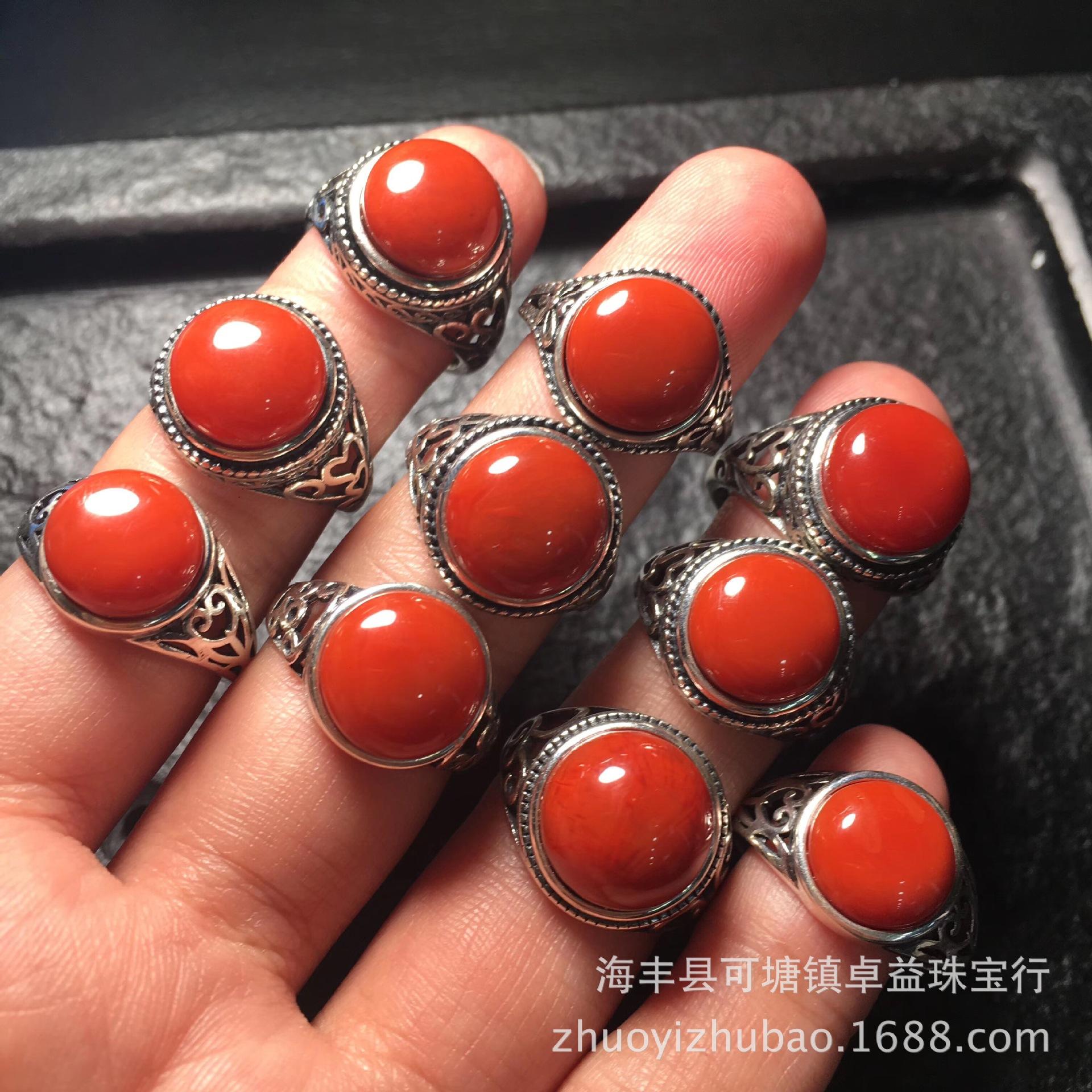 天然南红玛瑙 满色满肉川料柿子红镶嵌925银复古戒指 活口可调