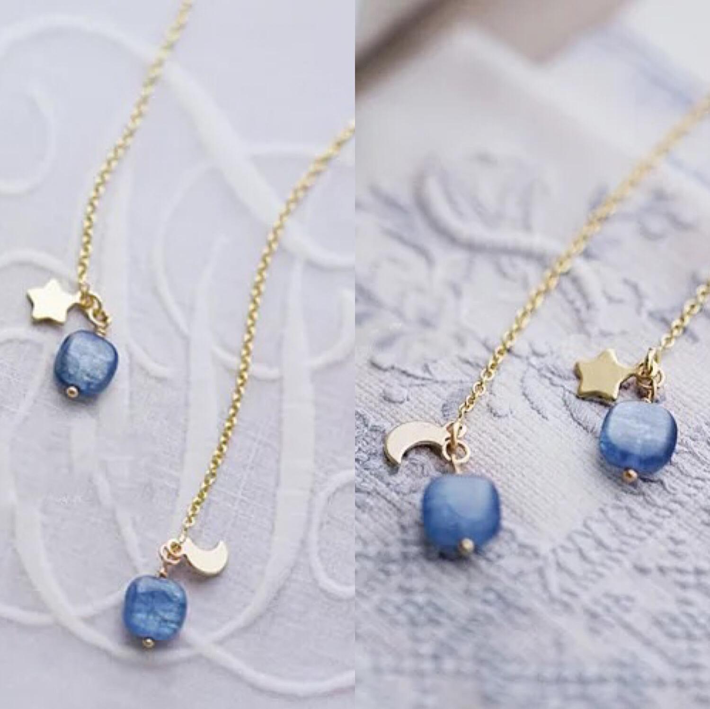 美国进口14K注金耳线蓝晶石小方块星星月亮+蓝晶石耳线 耳环