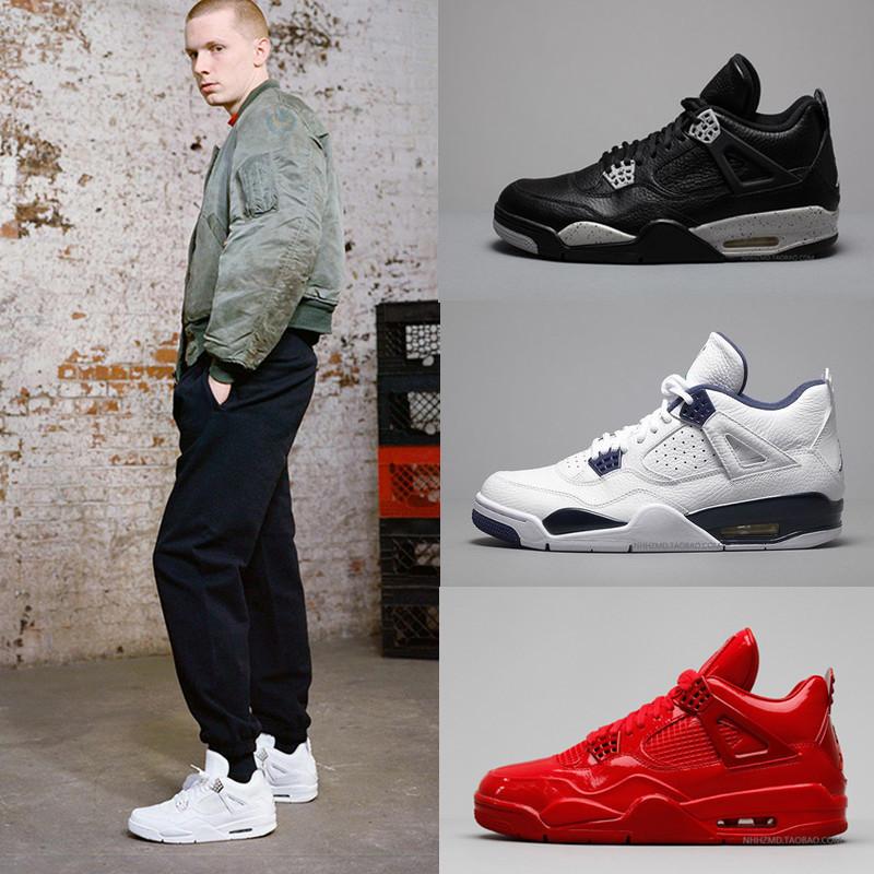 AJ4男鞋白水泥篮球鞋白银奥利奥女鞋乔4代纯白黑金白猫运动鞋真皮