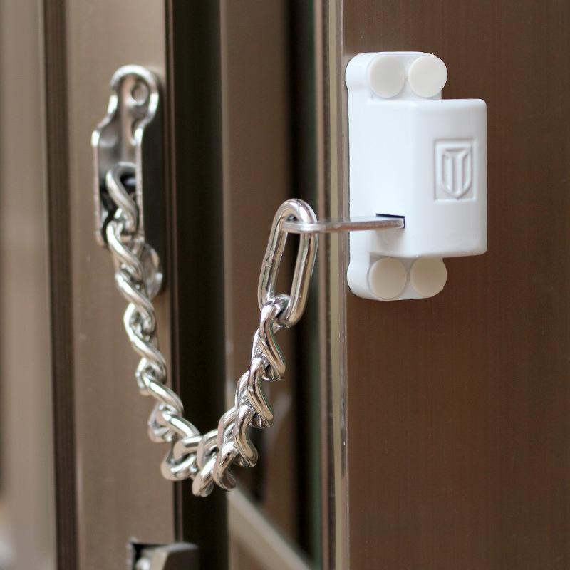 蒙莱奇白色链锁 外开窗安全锁 门窗防盗锁儿童防护锁推拉窗锁限位