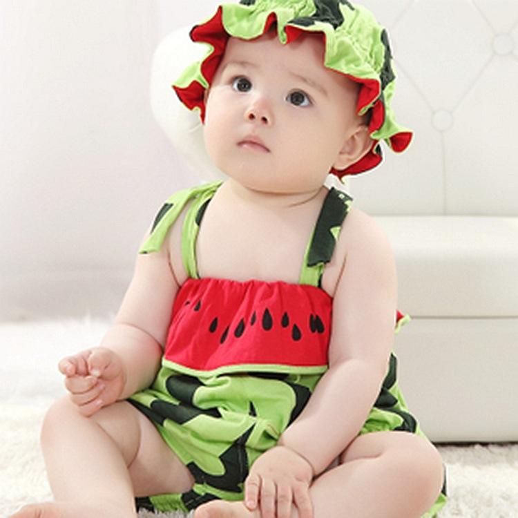婴儿童爬服宝宝连体衣可爱西瓜造型衣服老虎柿子哈衣纯棉背带短裤