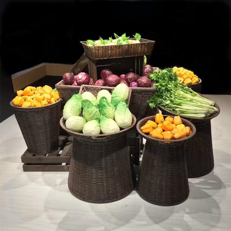 工厂直销  藤编收纳展示陈列蔬菜置物篮 超市设配生鲜水果堆头筐