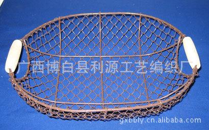 供应铁网编织篮盆铁网水果篮铁网园林装饰篮多肉铁艺花盆花篮鸟笼