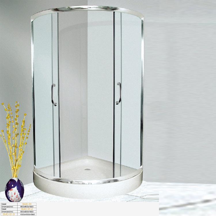 厂家直销整体亚克力卫浴钢化玻璃高档简易房整体弧扇形批发淋浴房